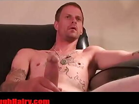 Skinny Tatted redneck Daddy convict stroking- RoughHairy.com